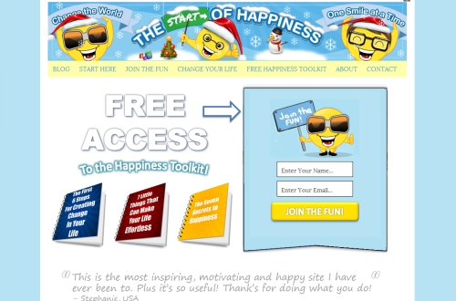 Start of Happiness Website